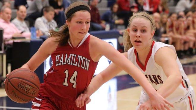 Hamilton's Ellie Sumiec drives past Brookfield East's Emma Kiekhofer.