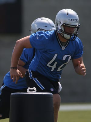 Detroit Lions long snapper Jimmy Landes in rookie minicamp.