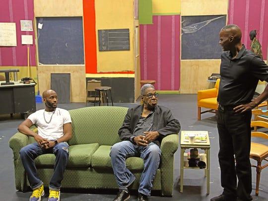 "Lekeathon Wilson, Chance Boyd and Guy Stockard in Riverwalk's ""Jitney."""
