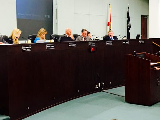 In a 2017 photo, then sixth-grader Emily Oliver makes a presentation to the Brevard County Commission, seeking reduced use of polystyrene products.