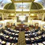 Legislators convene in the Montana state Capitol.