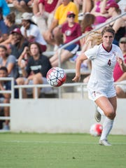 FSU's Holly Fritz chases down a ball during their game