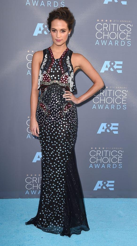 Alicia Vikander arrives at the The 21st Annual Critics'