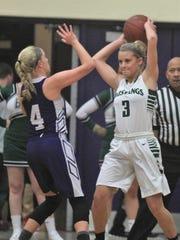 Brossart senior Ally Schultz tries to pass the ball