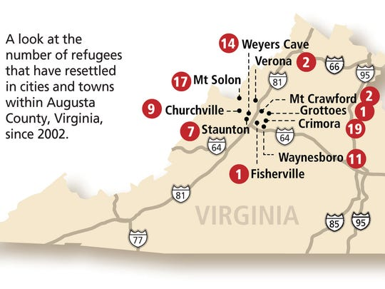 The number of refugees who've been resettled in towns and cities within Augusta County, Virginia since 2002