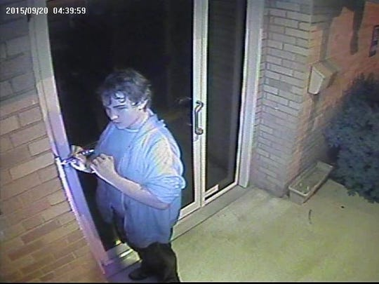 This surveillance mage released by Delaware State Police shows one of two suspects in a Sept. 20 burglary attempt at St. Mark's United Methodist Church in Stanton.