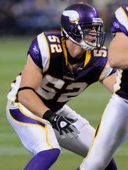 Minnesota Vikings linebacker Chad Greenway is shown