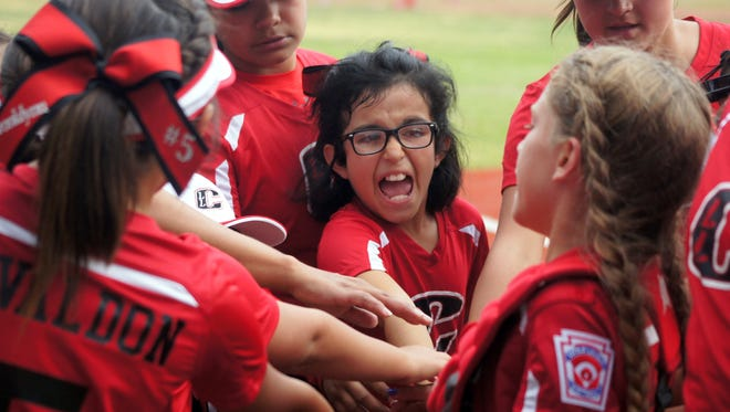 Action was hot and heavy during the opening round of the New Mexico District 7 Little League All-Star Tournaments at E.J. Hooten Recreational Complex in Deming. Grant County teams were on the diamond for the first round, competing in specific age divisions. Alissa Carrillo led the Bayard Copper League All Stars in a breakout pep talk in between innings of Monday's 5-1 victory over the Silver City All Stars in the Minor Division (ages 9-10) contest.