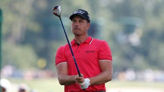 Henrik Stenson tees off on the 15th hole during the second round of the PGA Championship.