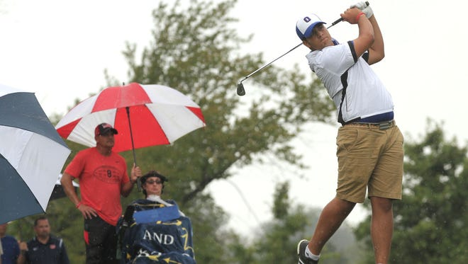 Dom Castelvetere hits his drive while at the Sycamore Creek Golf course near Galion. His father, Mico and mother, Beth, who has amyotrophic lateral sclerosis or ALS, attend every match that they can.