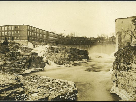 View of the mills near the falls in Winooski.