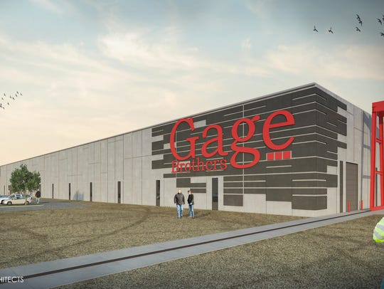 A rendering of the planned $40 million Gage Brothers