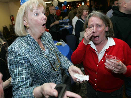 A May 2013 photo showing Deputy Mayor Kathy Canestrino reacting to the news that she and her running mates came in the top five in the city council election. In a surprise victory, Citizens for Change swept the city council election.  To her right is then-treasurer Regina DiPasqua, who is now a vocal opponent of Canestrino and the current council administration.
