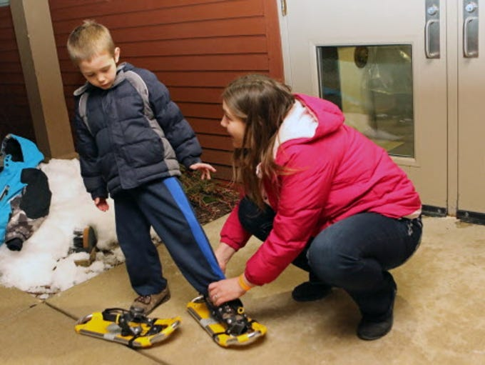 Testing out snowshoes at Retzer Nature Center