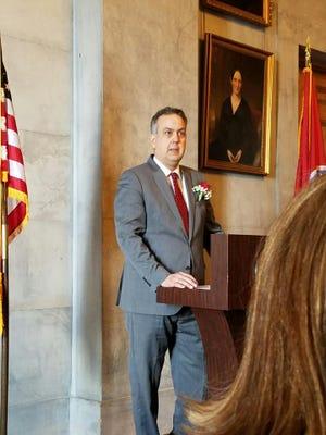 Steve Cole gives remarks after being sworn in Dec. 15, 2016, as Nashville postmaster.