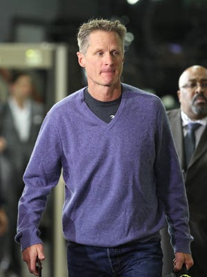 Golden State Warriors head coach Steve Kerr arrives at Moda Center for Game 4 of the first round of the 2017 NBA playoffs.