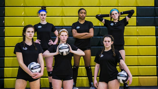 October 11, 2017 - (From left to right): Rachel Sullivan, Madison Spiva, Cade Stewart, Alyiah Wells, Hannah Cox and Carsyn Starr are members of Briarcrest Christian School's volleyball team.