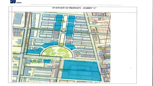 This Cincinnati Metropolitan Housing Authority map shows land it owns in the West End. The large rectangular plot in the lower right corner is at the intersection of Ezzard Charles Drive and John Street. The plot is the one on which FC Cincinnati recently obtained an option.