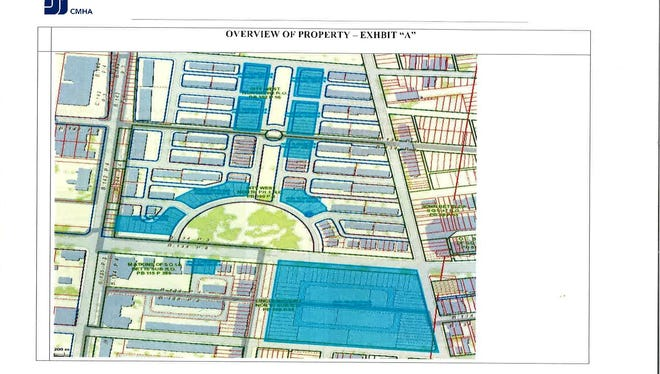 This Cincinnati Metropolitan Housing Authority map shows land it owns in the West End. The Drees Co. has an option on the large rectangular plot in the lower right corner, at the intersection of Ezzard Charles Drive and John Street. FC Cincinnati just received an option for the other CMHA parcels in blue.