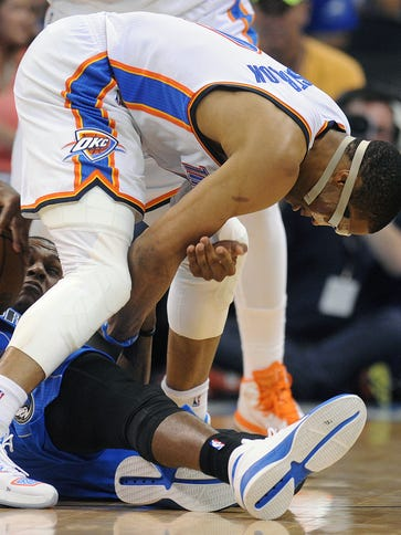 Oklahoma City Thunder guard Russell Westbrook and Dallas