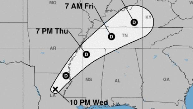 This image from the National Hurricane Center shows Harvey's predicted path as of 10 p.m. on Wednesday, August 30.
