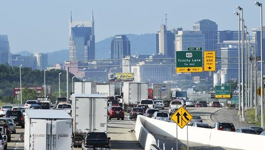 Morning traffic heads southbound on Interstate 65 near Trinity Lane on Tuesday on its way to downtown Nashville.