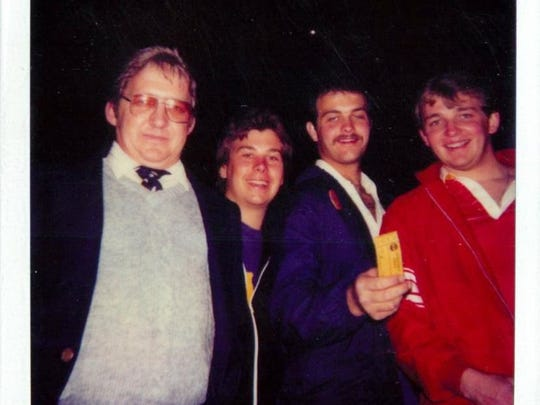 A Polaroid photograph from Doug Knust and Christopher Korth's first Final Four in New Orleans in 1982. From left, Harry Knust (Doug's father), Korth, Craig Kirsch and Doug Knust.
