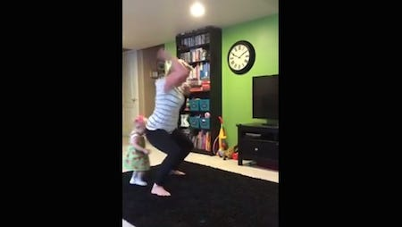 This Houston mom accidentally knocked down a toddler while grooving to her moves.