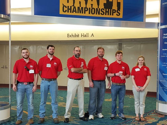 Competitors in the 2016 National Craft Championships pictured, from left: Martin Grimm, Wilco Electric (electrical); Matthew Stock, Wohlsen Construction Company (carpentry); Andy Musser, Cyprium Solutions (electrical); John Masgalas, Remco, Inc. (HVAC); Seth Gentry, Garden Spot Mechanical, Inc. (plumbing); Katie Brown, James Craft & Son, Inc. (sheet metal).