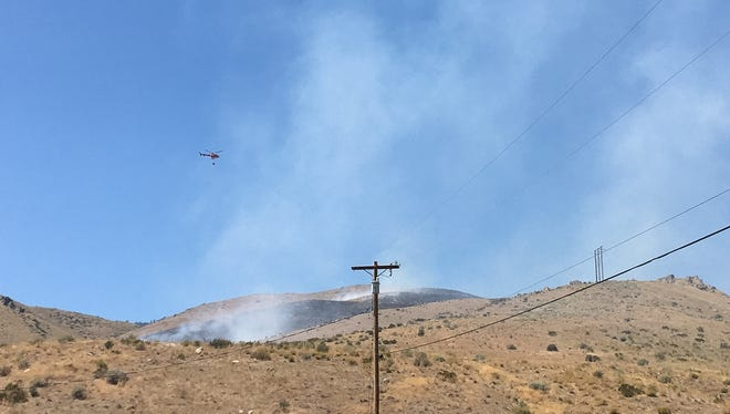 A view of the Shooting Fire burning on C Hill in Carson City on Aug. 14, 2016.