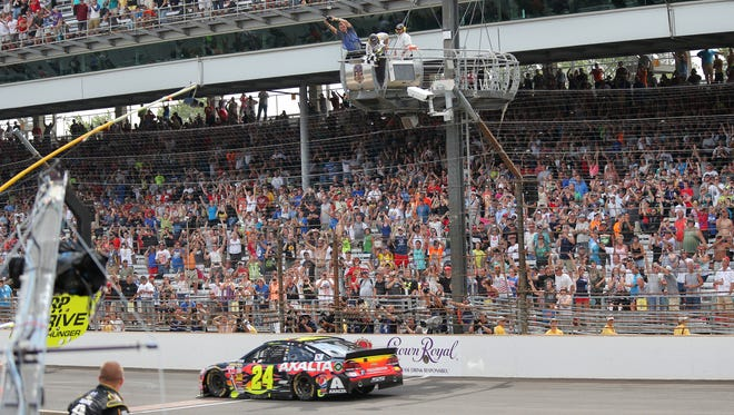 The crowd at the finish line was respectable Sunday when Jeff Gordon's car crossed the finish line in victory.
