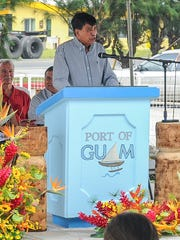 In this file photo, Francisco Santos, Port Authority of Guam board chairman, speaks during  Port Week celebrations. Gov. Eddie Calvo wants Santos to continue to serve on the Port's board.