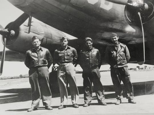 Detail shot of Dr. James Wheeler's father's U.S. Army Air Corps C-47 flight crew: L-R: Capt. John McCue, (Wheeler's father) 1st Lt. Gene Wheeler, Sgt. James Freda and Sgt. Arthur Hughes. Lt. Wheeler was killed in WWII trying to crash-land his plane.28 July, 2016