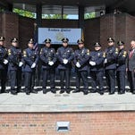 The Linden Police Department promoted nine officers to the rank of sergeant in an Aug. 27 outdoor ceremony at the Raymond Bauer Promenade on North Wood Ave. Pictured left to right are: Chief James M. Schulhafer, Sgts. Eric Calleja, William F. Turbett III, Tom H. Struszczyk, Dan Tristao, Robert Sanchez, Travis J. Koziol, Ivan A. Ordonez, Vincenzo A. Wegrzynek, Rick T. Bachmann, Mayor Richard J. Gerbounka, and Police Chaplain Father Krol.