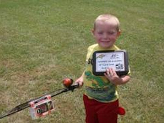 Carter Tulachka with his first-place bluegill plaque