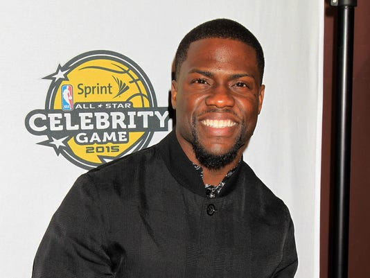 In this image released by Starpix, comedian Kevin Hart arrives at the NBA All-Star Celebrity Game on Friday, Feb. 13, 2015 in New York. (AP Photo/Starpix, Dave Allocca)