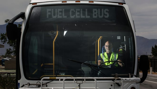 Mike Hayes, the maintenance supervisor for SunLine's hydrogen fuel cell bus fleet, sits at the driver's seat of one of those buses on April 25, 2017 in Thousand Palms.