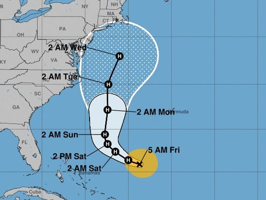 The projected path of Tropical Storm Jose, as of 5