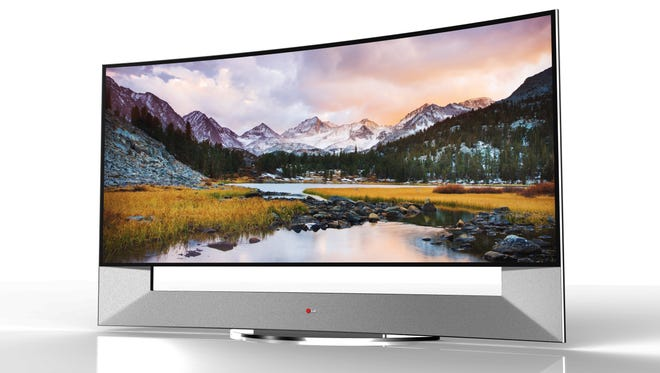 LG Electronics' 21:9 aspect ratio Curved Ultra HD TV 105-inch display.