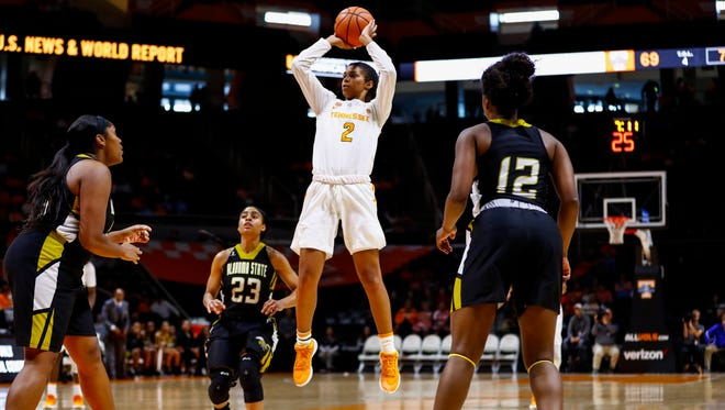 KNOXVILLE, TN - DECEMBER 03, 2017  - Tennessee guard Evina Westbrook takes a jumper against Alabama State at Thompson-Boling Arena. Photo by Summer Simmons/Tennessee Athletics