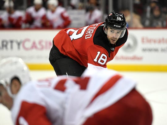 New Jersey Devils right wing Drew Stafford (18). The