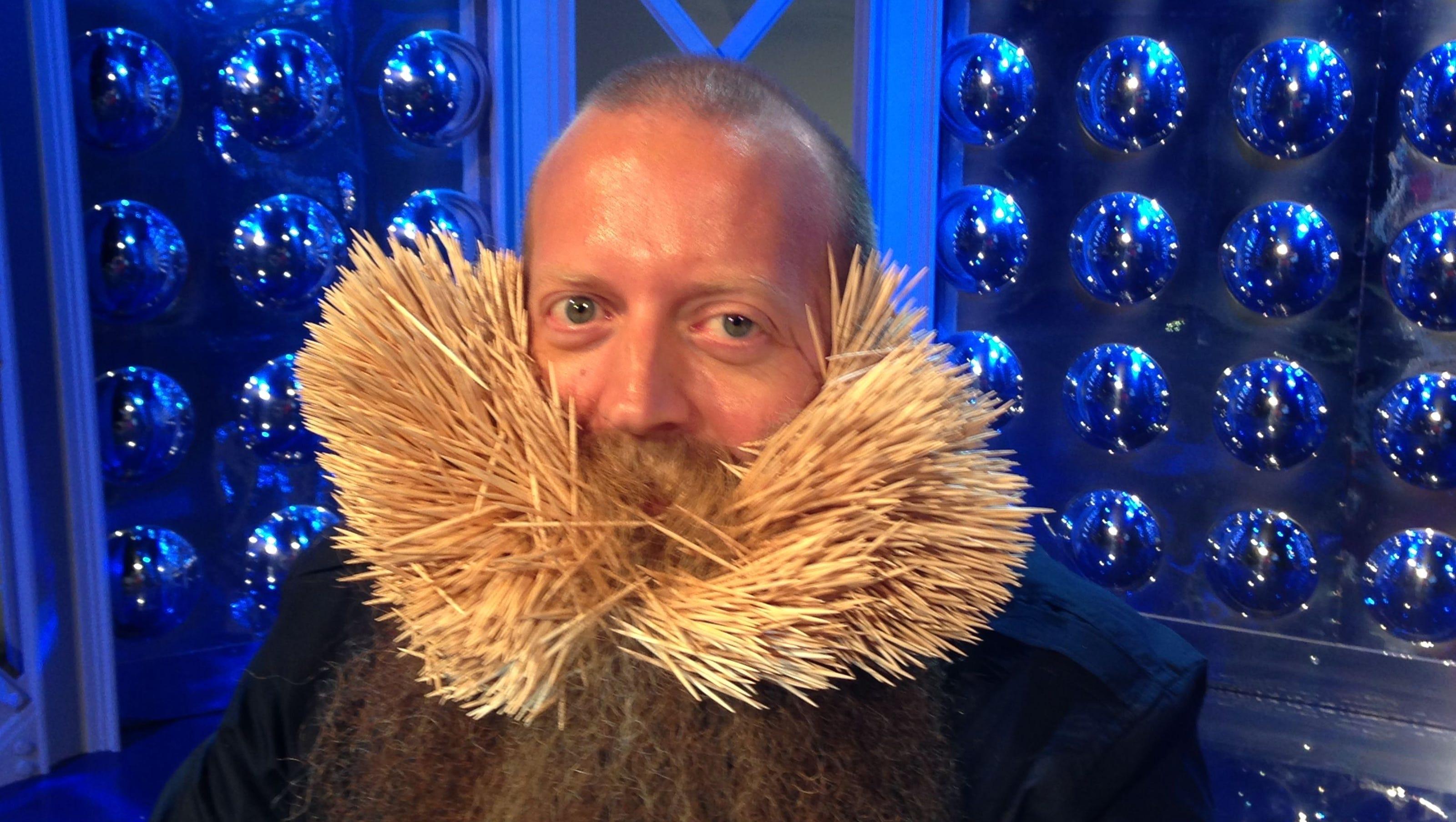 Man Sets World Record With Beard Toothpicks