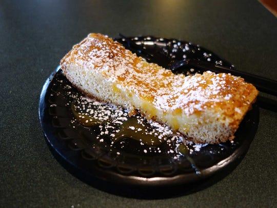 Think coffee cake gone gloriously awry. Sweet, dense