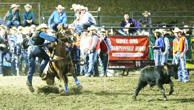 Pearl River Community College rodeo freshman Andrew Burks competes in the calf roping event at a rodeo earlier this season. Burks has qualified for the College National Finals Rodeo in Casper, Wyoming, in June.