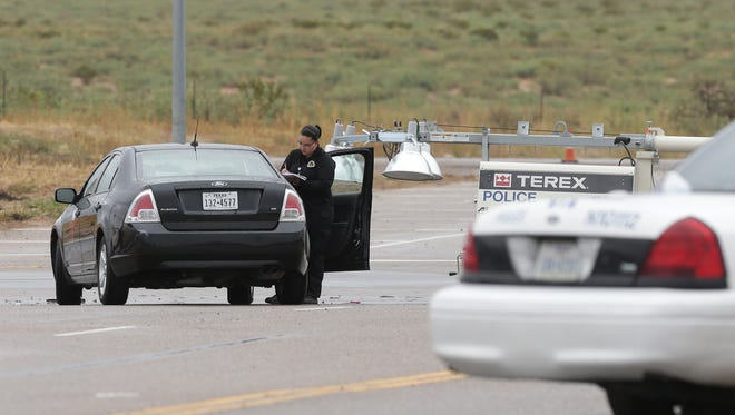 Police investigate a fatal pedestrian accident Wednesday on Gateway North Boulevard near Mesquite Hill Drive in Northeast El Paso.