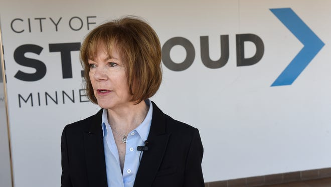 Sen. Tina Smith speaks following a meeting discussing the closure of Electrolux Saturday, Feb. 10, at St. Cloud City Hall.