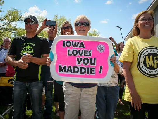 Fans cheer for American Idol finalist Maddie Poppe in Clarksville, Iowa, Tuesday, May 15, 2018, before a parade and then concert in Allison.