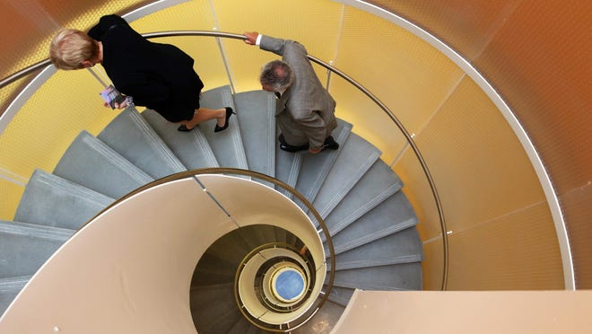 An artful stairway in URI's Fascitelli Center for Advanced Engineering at the building's debut on Oct. 7, 2019.