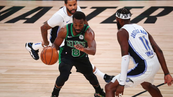 Celtics guard Kemba Walker (8) has never played beyond the first round of the NBA playoffs.