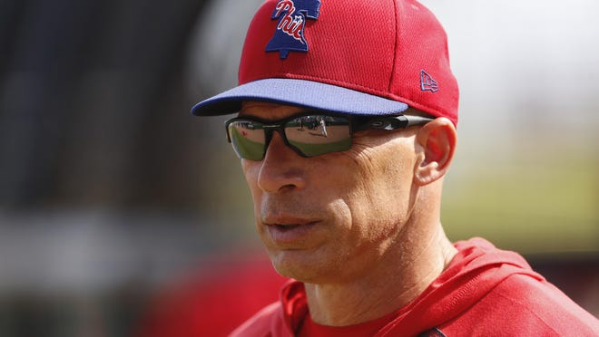 Philadelphia Phillies manager Joe Girardi is seen during pregame of a spring training baseball game, Wednesday, March 4, 2020, in Clearwater, Fla.